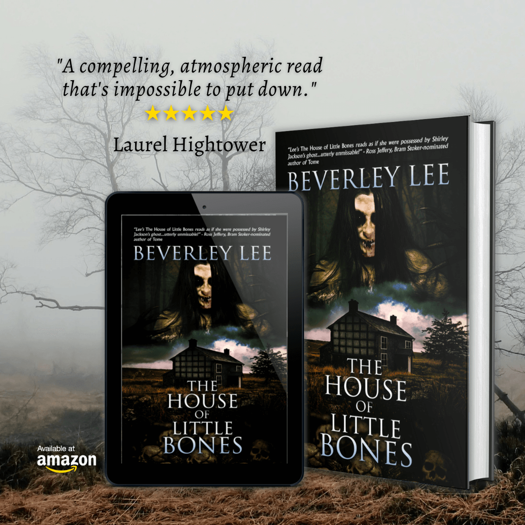 The House of Little Bones hardcover book and e-Reader version sitting on a foggy background